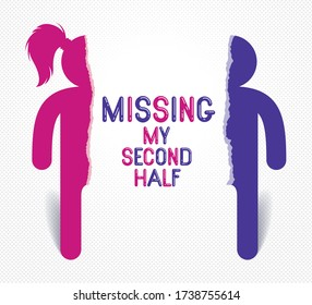 Half of man and half of woman icon lonely and missing his mate lover, divorce breakup and loneliness vector concept symbol, stylish illustration of broken relations.