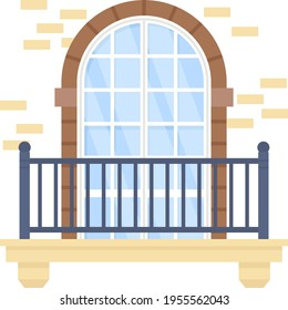 Half moon grid pattren brick wall arched window Concept Vector Icon Design, balcony and window front view symbol, House exterior design ideas with vintage  classic balconies facade stock illustration