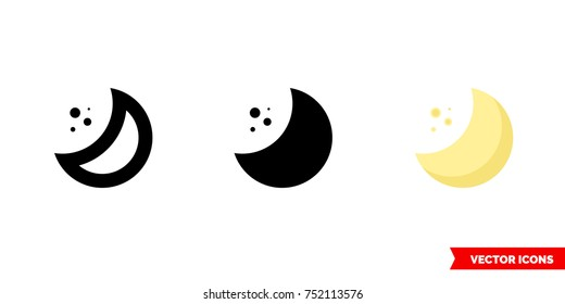 Half moon icon of 3 types: color, black and white, outline. Isolated vector sign symbol.