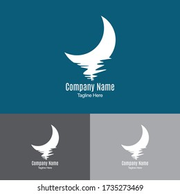Half Moon Logo Design Template-half moon set rise sea ocean surface water logo template icon.