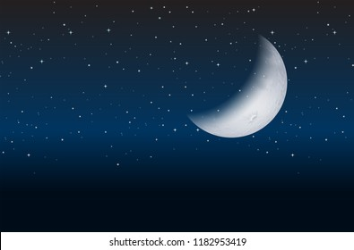 Half moon on sky  illustration