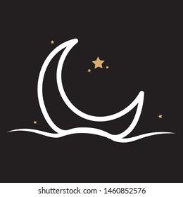 Half moon set rise ocean ocean surface water logo. template vector