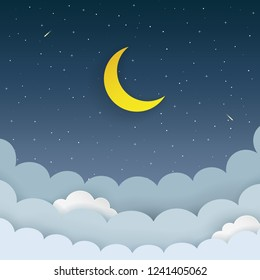 Half moon, stars, clouds, comet on the dark night starry sky background. Galaxy background with moon and shooting stars. Paper and craft style. Night scene minimal background. Vector Illustration.