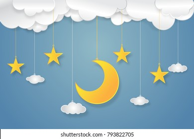 half moon, stars and clouds in the night as paper art, craft style concept. vector illustrator.