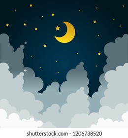 half moon and stars in midnight. Crescent moon, stars, and clouds on the midnight sky background. Night sky scenery background