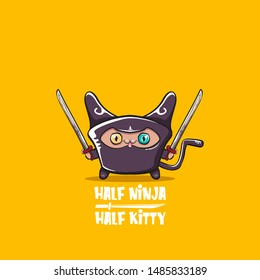 Half ninja half kitty character with black super hero ninja mask isolated on orange background. super ninja kawaii cat character with sword for printing on t shirt or sticker