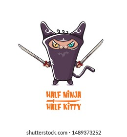 Half ninja half kitty character with black super hero ninja mask isolated on white background. super pink ninja kawaii cat character with sword for printing on t shirt or sticker