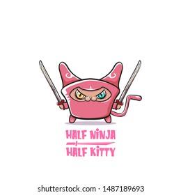 Half ninja half kitty character with pink super hero ninja mask isolated on white background. super pink ninja kawaii cat character with sword for printing on t shirt or sticker