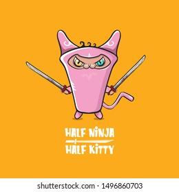 Half ninja half kitty character with pink super hero ninja mask isolated on orange background. pink super ninja kawaii baby cat character with sword for printing on t shirt or sticker