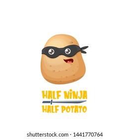 Half ninja half potato character with black super hero mask. super ninja kawaii vegetable food character for printing on tee
