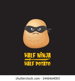 Half ninja half potato character with black super hero ninja mask isolated on black background. super ninja kawaii vegetable food character for printing on t shirt