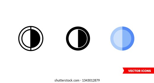Half occupied icon of 3 types: color, black and white, outline. Isolated vector sign symbol.