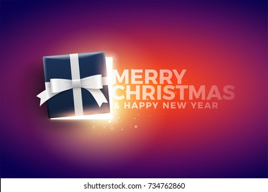 Half open Christmas gift box with magical lights and Merry Christmas and Happy New Year text. Surprise concept. Ideal for banner, greeting card, poster or social media posts.