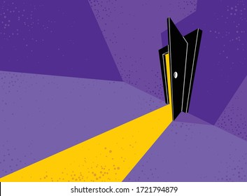 Half open door from the dark room, fear of the unknown vector concept illustration, bedroom scary nightmare theme.