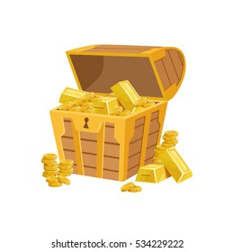 Half Open Pirate Chest With Golden Bars, Hidden Treasure And Riches For Reward. Game Design Variation