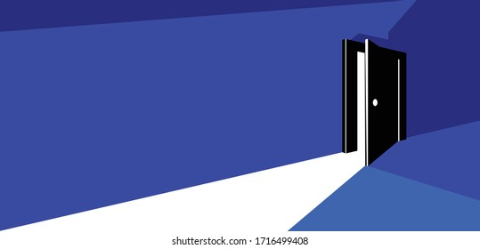 Half open secret door new opportunities concept vector illustration, fear of the unknown, step inside the future, what is behind, what is there.