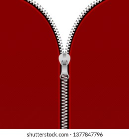 Half opened zipper vector design illustration