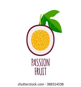 Half of passion fruit icon. Isolated object.  Passion fruit logo. Healthy food. Vitamin food. Vector illustration.