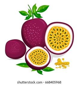 Half of passion fruit icon. Isolated object. Passion fruit logo. Healthy food.Vector illustration
