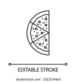 Half of pizza linear icon. Thin line illustration. Contour symbol. Vector isolated outline drawing. Editable stroke