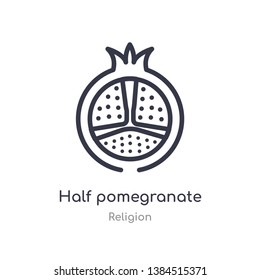 half pomegranate outline icon. isolated line vector illustration from religion collection. editable thin stroke half pomegranate icon on white background