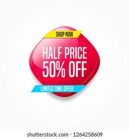 Half Price 50% Off Shop Now Label