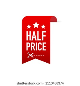 half price label for sales business graphics. Vector stock illustration.