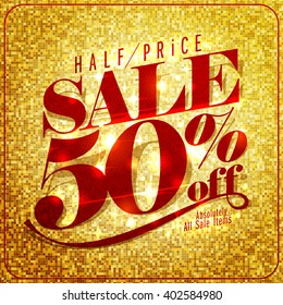 Half price sale mock up design, 50% off, rich and fashion vector illustration