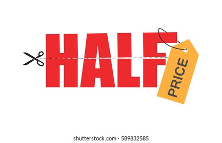 half price tag for sales business graphics