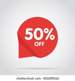 Half price tag. Special offer tag. Advertisement symbol. Isolated sale tag. Off tag. 50% off. Decoration element. Special offer banner.