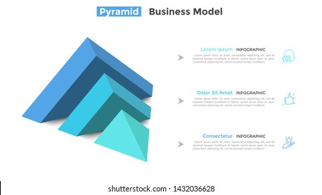 Half of pyramid lying on side split into 3 parts or layers and place for text. Concept of three features of business project. Modern infographic design template. Vector illustration for presentation.