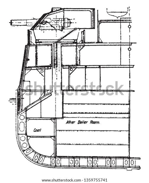 Half Section Battleship Used During Latter Stock Vector