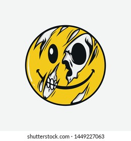 Half skull emoticons, emojis with bright backgrounds