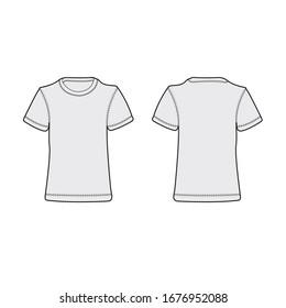 half sleeves t shirt vector apparel tech pack template.