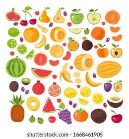 Half slice cut and whole fruits isolated set.  Vector flat graphic design illustration