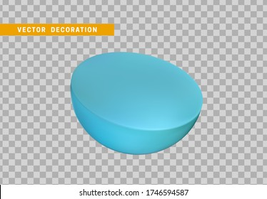 Half sphere isolated blue color. 3d objects geometric shape. vector illustration