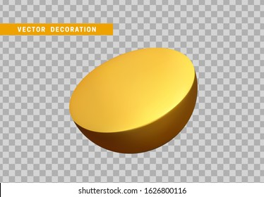 Half sphere isolated gold color. 3d objects geometric shape. vector illustration