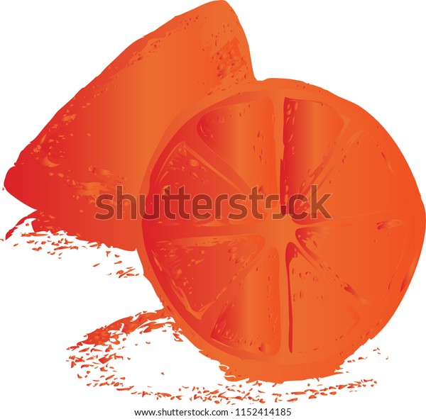 Half Stylized Citrus Fruit in red and orange color - vector illustration.