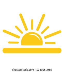A half sun with rays emerging upwards, sunrise concept
