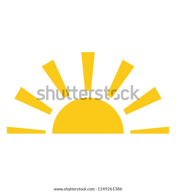 A half sun is setting downwards showing the concept of sunset