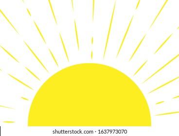 Half sun. Sunny background in naive style. Vector illustration