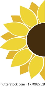 Half sunflower icon. Clipart image isolated on white background, Background with part of yellow sunflower and copyspace