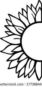 Half sunflower icon. Clipart image isolated on white background.