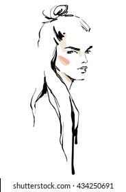 Half up top knot. Girl sketch