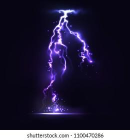 Half transparent lightning bolt on dark background.Vector electric light thunder spark. Blue lightning or magic power blast storm template for your creative design.