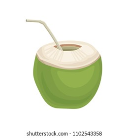 Half of young green coconuts with drinking straw. Exotic cocktail. Flat vector element for party poster or flyer