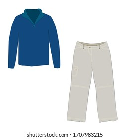 Half zipper long sleeve blue sweater and pants isolated on a white background.