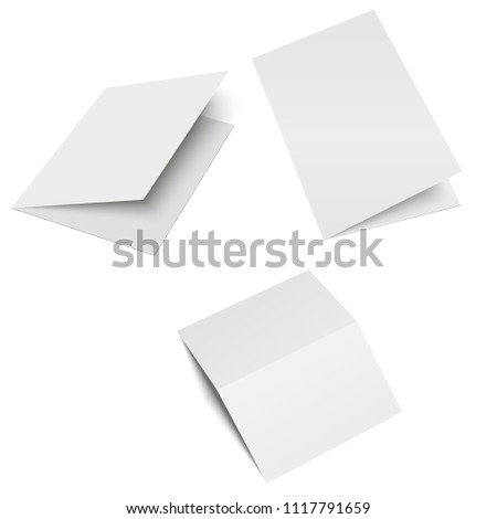 Halffold Brochure Blank White Template Mock Stock Vector Royalty