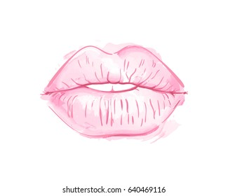 Half-open mouth with plump lips kiss pink watercolor and line art, Hand drawn vector illustration isolated