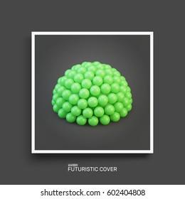 Half-sphere. Molecular structure. Textbook, booklet or notebook mockup. Business brochure. Cover design template. Vector Illustration.